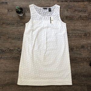 New York & Company White Eyelet Sleeveless Dress